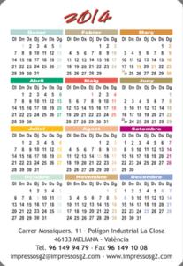calendarios bolsillo cara b color plano